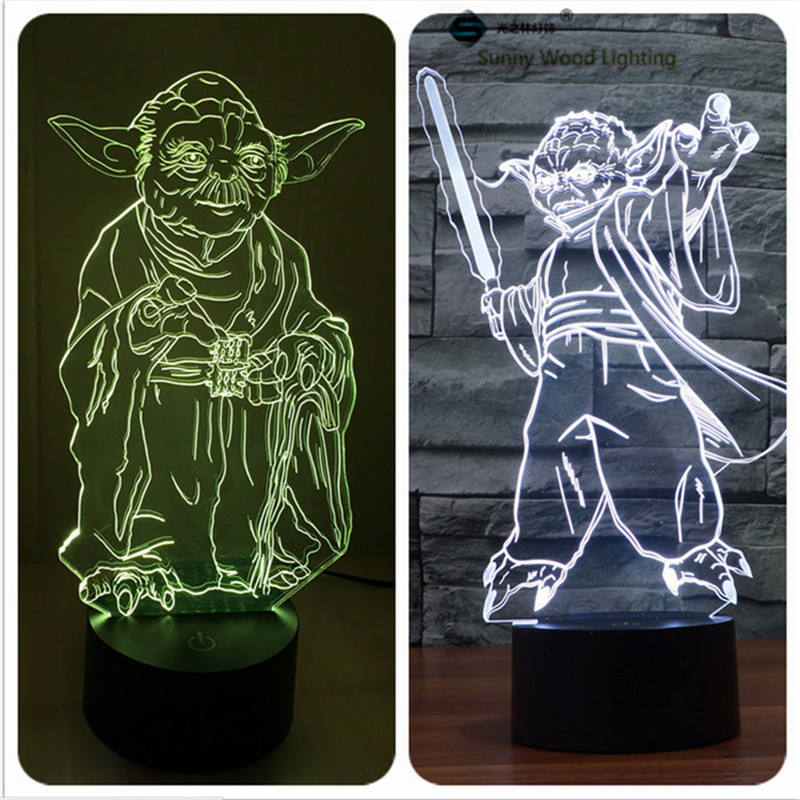 master yoda star wars touch LED 3D lamp,Visual Illusion 7color changing 5V USB for lapto ...