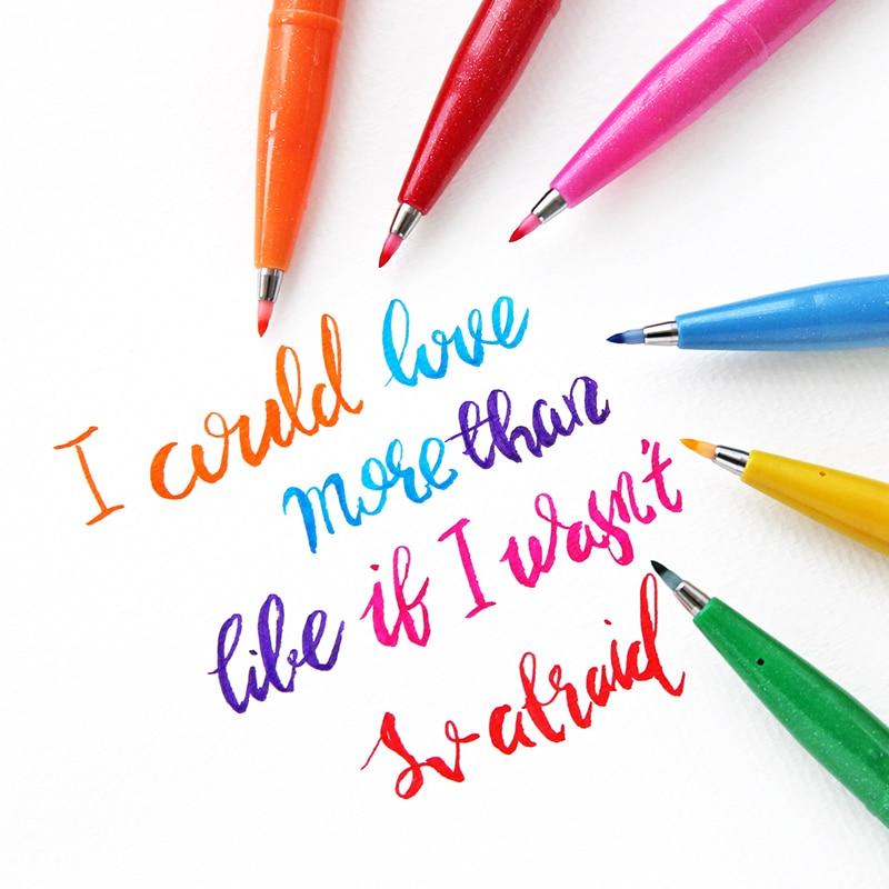Japan Flourish Special Pen Pentel Color Marker Pen Brush Pen Painting Art Scrapbooking Supplies School Stationery Store