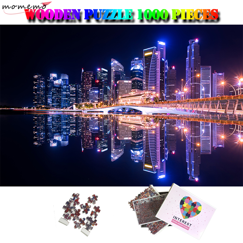 MOMEMO Singapore Night View Customized 1000 Pieces Puzzle Wooden Beautiful City Landscape Jigsaw Puzzle High Definition Puzzles
