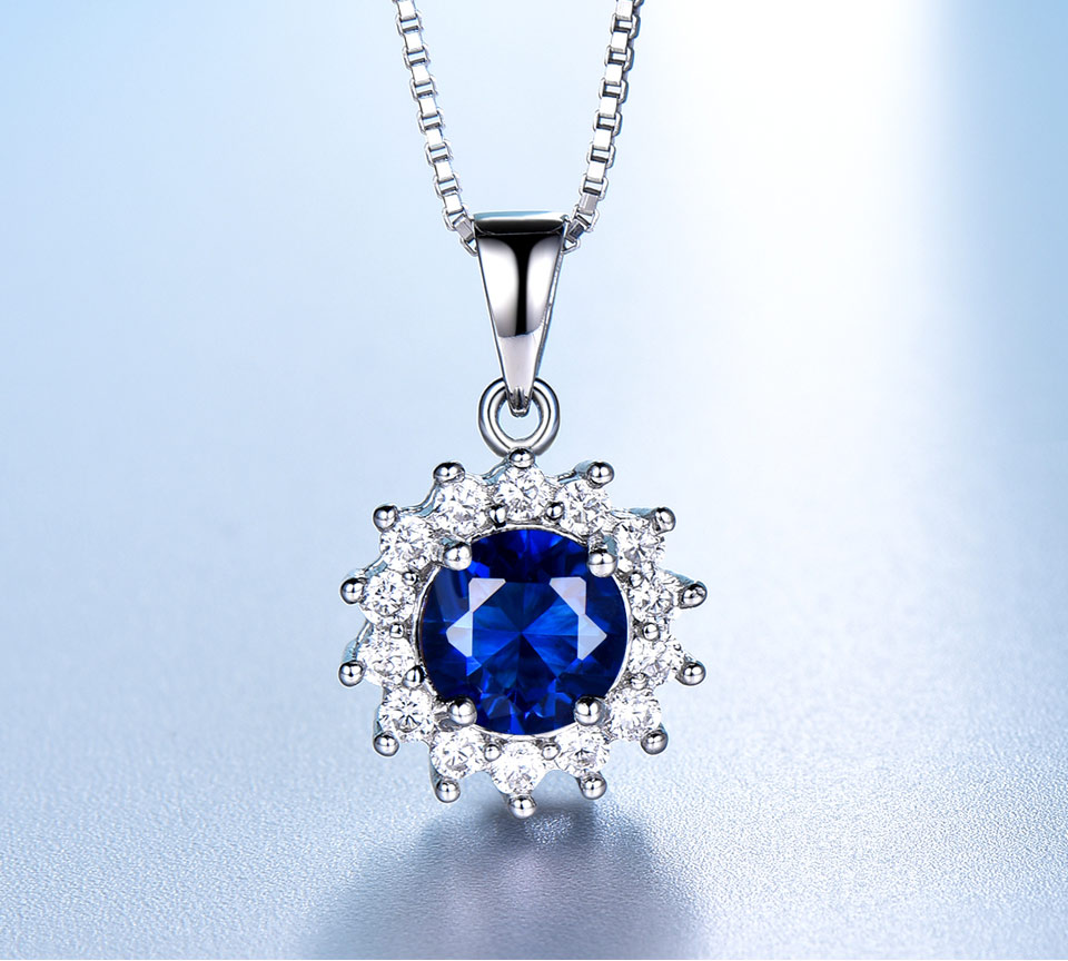 UMCHO Sapphire 925 sterling silver jewelry set for women S020S-1 (6)
