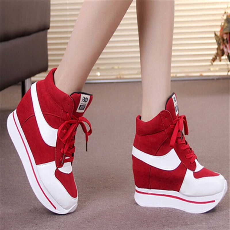Womens High-top Platform Mesh Breathable Heels Sports Sneaker Shoes Fashion red