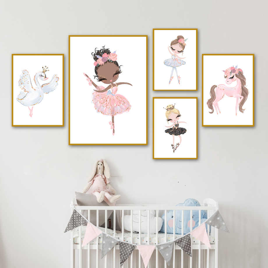 Ballet Nursery Princess Wall Art Canvas Prints Painting Cartoon Baby Girl Unicorn Nordic Kids Poster Picture Decoration Unframed