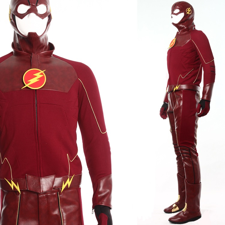 High Quality <font><b>The</b></font> <font><b>Flash</b></font> Barry Allen <font><b>Cosplay</b></font> Costume + <font><b>Boots</b></font> Halloween Costumes for Women/Men Carnaval Disfraces Custom Any Size image