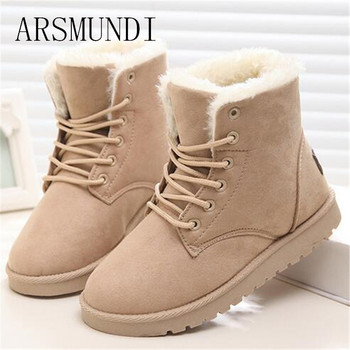 ARSMUNDI Classic Women Winter Boots Suede Ankle Snow Boots Female Warm Fur Plush Insole High Quality Botas Mujer Lace-Up L308 high heels