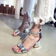 Silver Thick High Heel Sandals  T-Strap  Design