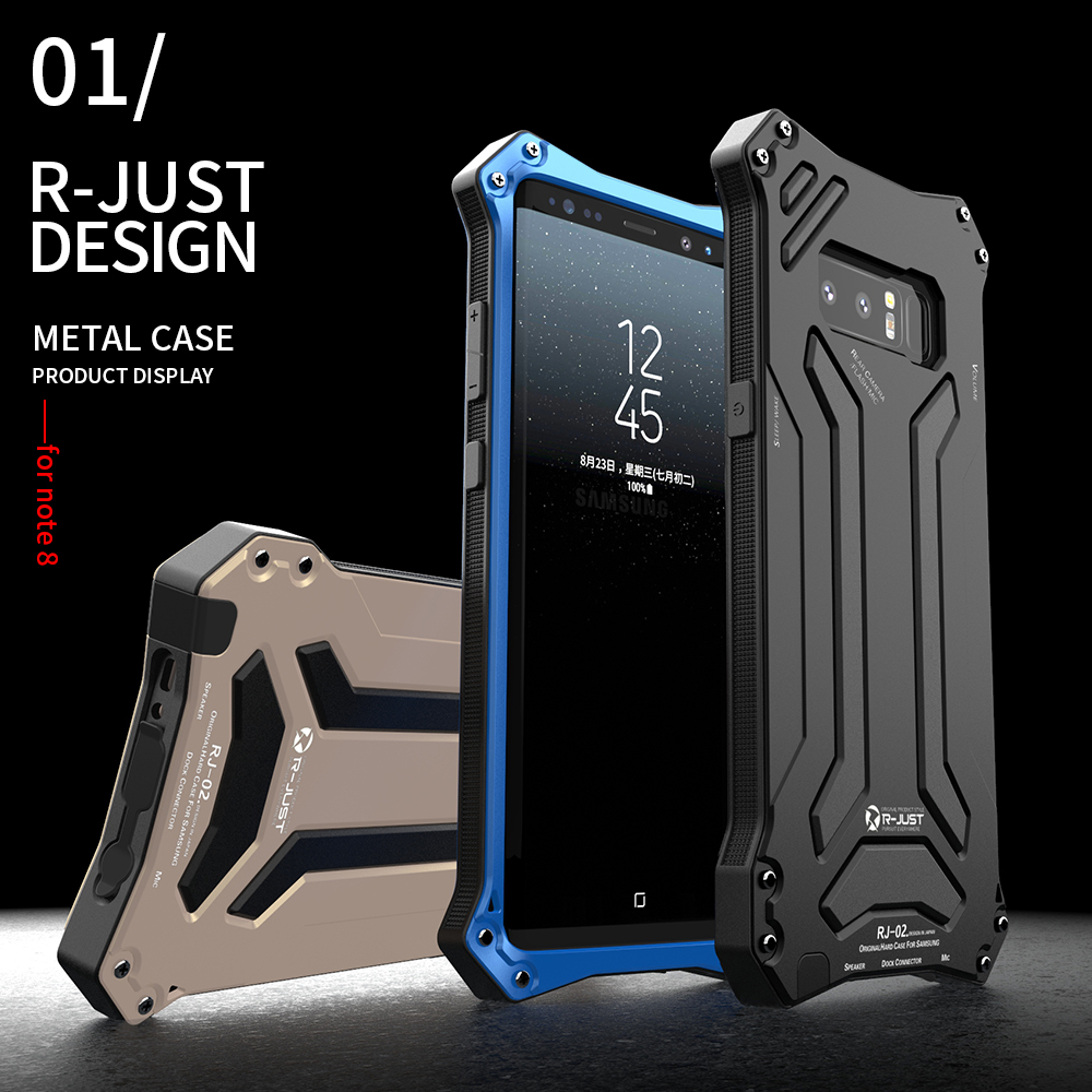 online retailer d2106 bee5c US $17.84 15% OFF|Note8 Case R JUST Premium Shockproof Dropproof Aluminum  Metal Protection Mechanical Armor Cover Case for Samsung Note 8 (6.3