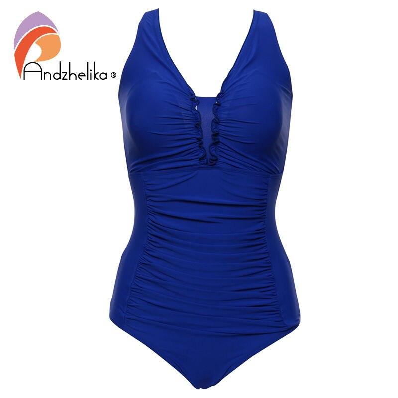 Andzhelika Plus Size Swimwear di Un Pezzo del Costume Da Bagno 2018 Nuovo Solido Costumi Da Bagno Retro Costumi da bagno Hot Biquini Costumi Da Bagno