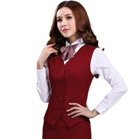 Spring fashion business ladies vest work wear uniforms Slim V Neck Formal jackets for women office vest coat plus size tops