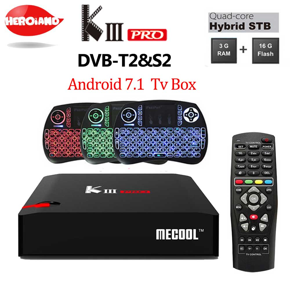 MECOOL KIII PRO TV Box Amlogic S912 S2 T2 DVB Octa Core Smart Android 7.1 3G 16G Dual Band WiFi 1000M Media Player set top box цена