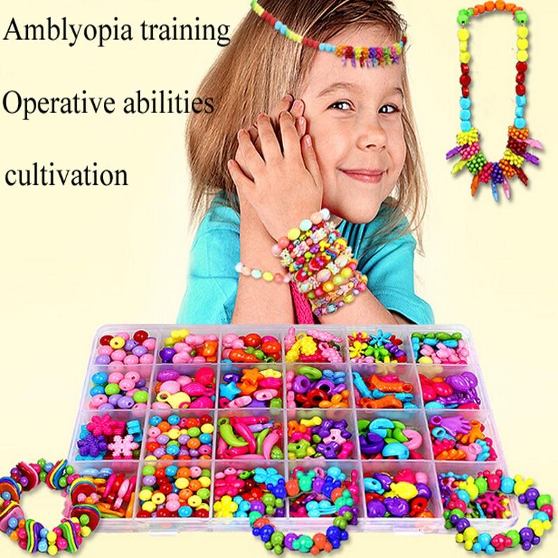 Beads toy for Children amblyopia training Kids DIY Jewelery making Learning & Education beads Toys Girls DIY necklace/bracelet