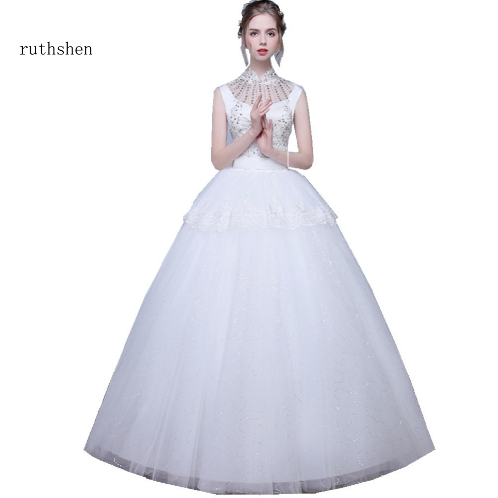 ruthshen Korean Lace Up Ball Gown Wedding Dresses 2018 High Neck Bridal Alibaba Wedding Dress Real Photo bridal gowns
