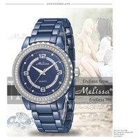 Melissa любителей ювелирный бренд часы 100% Настоящее синий Керамика часы сверкающих кристаллов браслет наручные кварцевые Montre Femme Reloj