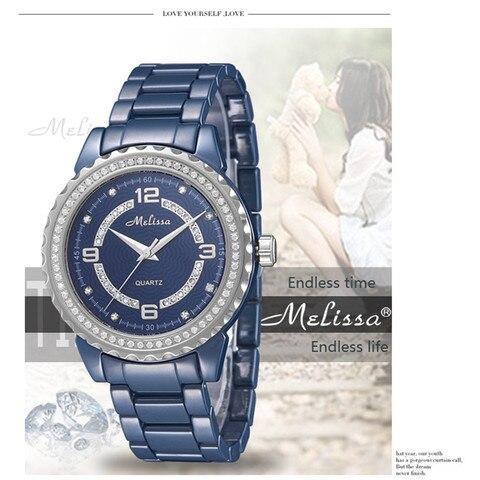 Relógio de Pulso de Quartzo os Amantes da Marca Melissa Relógios Jóias Real Azul Cerâmica Relógio Shinning Cristal Pulseira Montre Femme Reloj 100%