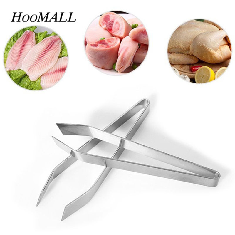 Hifuar 1PC Stainless Steel Fishbone Fur Bones Tongs Food Animal Feather Plucking tool Kitchen Supplies Hair Remover Pliers