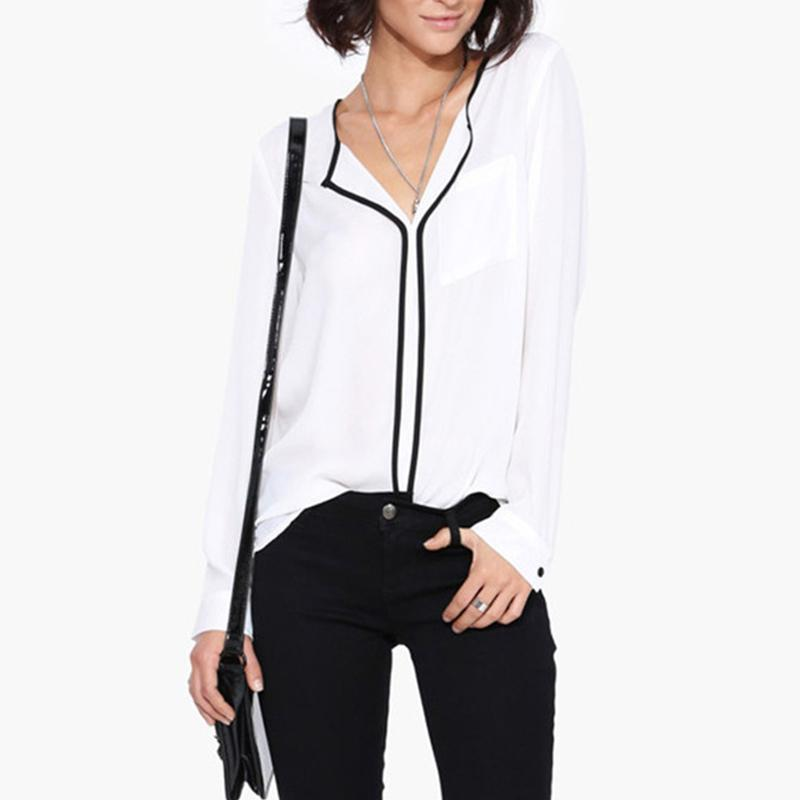 New Summer Style Fashion Womens Casual White Shirt Long Sleeve Black Side  Chiffon Blouse V- - Popular Black Blouses For Work-Buy Cheap Black Blouses For Work