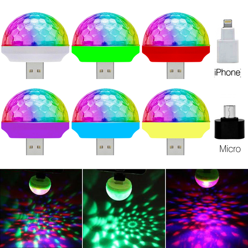 Voice Control Small Magic Ball Lamp RGB Mobile Phone Usb Crystal Magic Ball Stage Lamp 3w Mini Colorful Dj Little Magic Ball