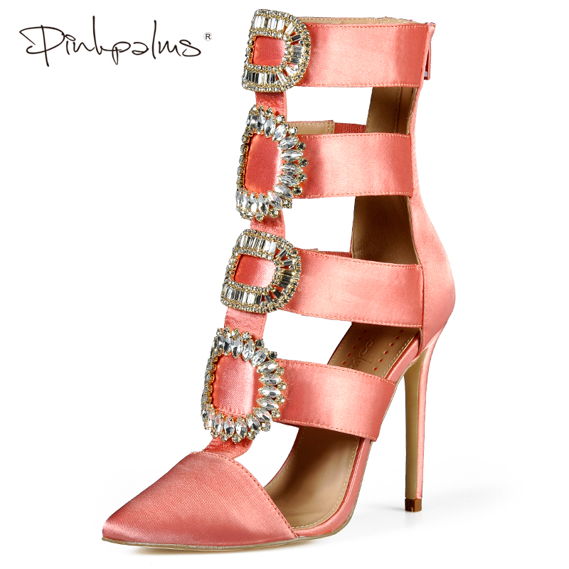 Pink Palms Summer Autumn Winter Shoes Women High Heels Crystal Ankle Boots Pointed Toe Sandals Wedding shoes Sexy Women sandals sexy pointed toe sheepskin leather high heeled shoes straps ankle wrap sandals women thin heels ol summer boots sandals