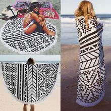 150 см большое хлопковое круглое пляжное, для спа ванна плавание толстые полотенца коврик длинный шарф