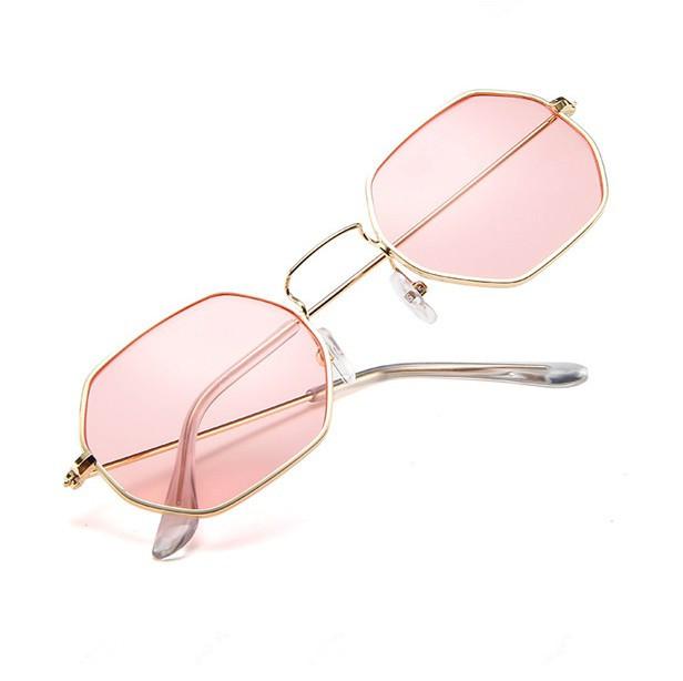 Fashion Sunglasses Women Brand Designer Small Frame Polygon Clear Lens Sunglasses Men Vintage Sun Glasses Hexagon Metal Frame