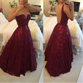 Burgundy Beaded Gowns Prom Dresses 2017 Plus Size vestidos de festa Sexy Crystals Backless African A Line Evening Party Long