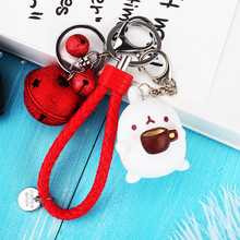 Cute Potato Rabbit Keychain Leather Rope Bell Key Ring Gifts for Women Llavero Chaveros Charms Car Bag Accessories Chain