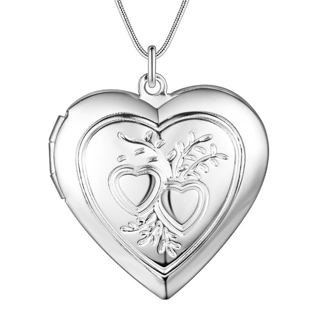 Vintage silver heart frame necklace can be opened classic charm ...