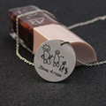 Round Stamp Handwriting Drawings Necklace 925 Solid Silver Engrave Name Necklace Customized Valentine's Day Gift