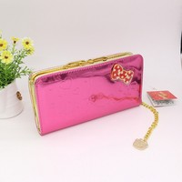 Hello Kitty Long women wallets Fashion solid wallet women luxury brand High quality PU color is red
