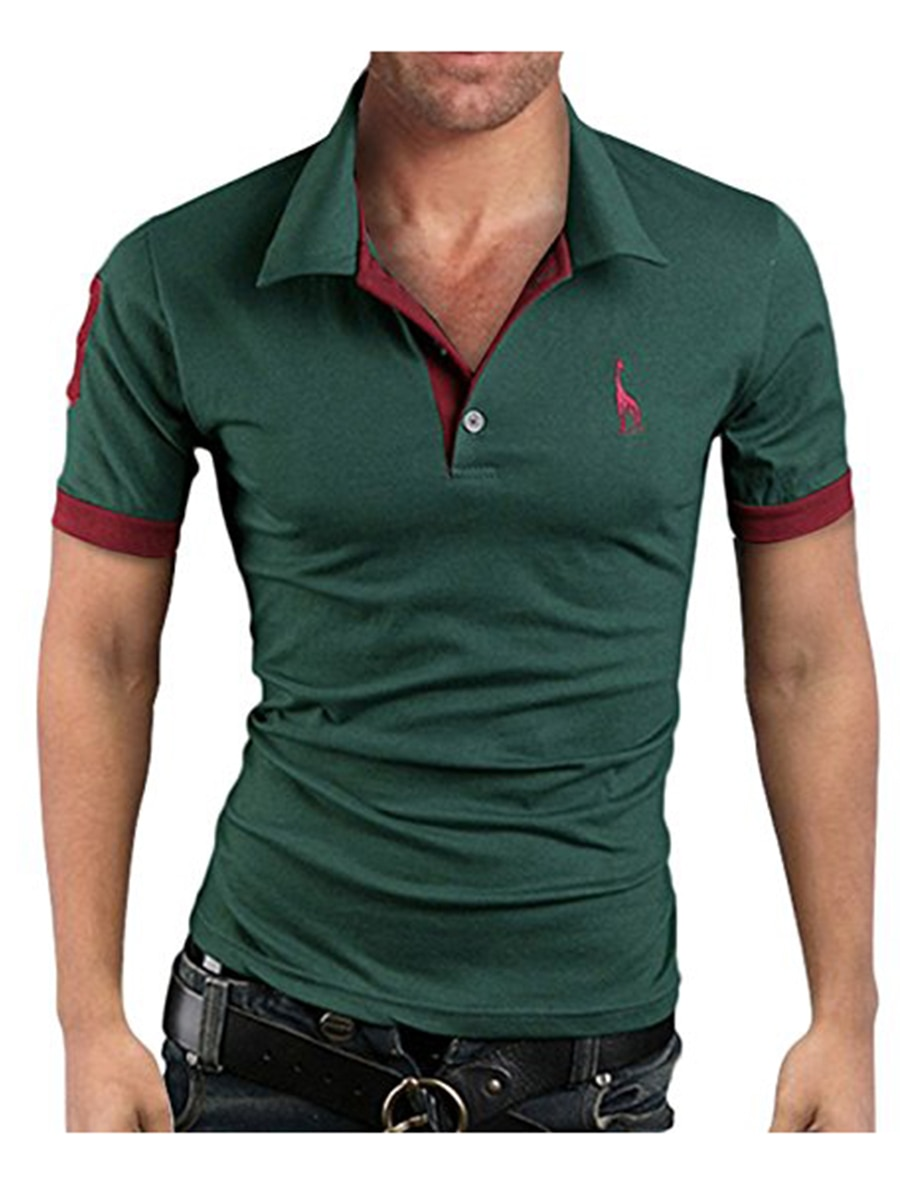 Men's Polo Multi-Color Deer High Quality Cotton Polo Shirt Men's Short Sleeve Slim Business Casual Solid Fit Tops 15