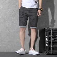 Summer Casual Denim Shorts Men Stretch Jeans Designer Distressed Knee Length Soild Color Plus Size