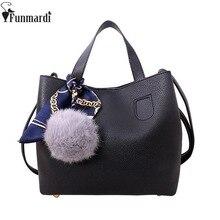 FUNMARDI 2 pcs Fashion Soft PU Leather Women Handbag Two Pieces Female Shoulder Bag Girl Crossbody bag Casual Women Bag WLAM0065
