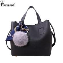 FUNMARDI 2 pcsแฟชั่นSoft PUหนังผู้หญิงกระเป๋าถือ 2 ชิ้นหญิงไหล่กระเป๋าCrossbodyลำลองกระเป๋าสตรีWLAM0065