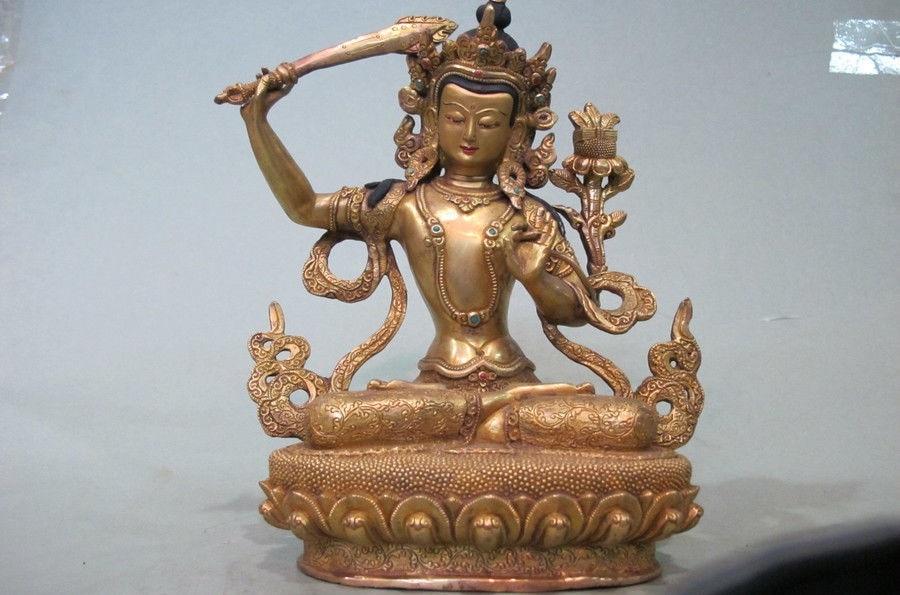 9Tibet Temple 100% Bronze 24K Gold manjusri Bodhisattva Kwan-Yin Buddha statue9Tibet Temple 100% Bronze 24K Gold manjusri Bodhisattva Kwan-Yin Buddha statue