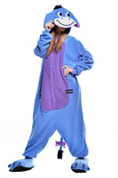 HOT Unisex Adult Pajamas Animal One Piece Blue Donkey Christmas Halloween Cosplay Costume Adult Sleepwear Suits