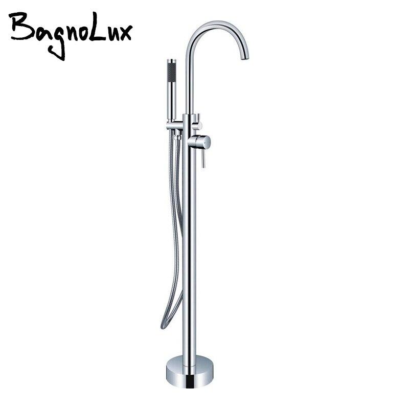 Chrome серебро или золото PVD двойная ручка ног Ванна Душ смеситель Клапан комплект 2-ручка автономных/ настенное крепление ванна кран