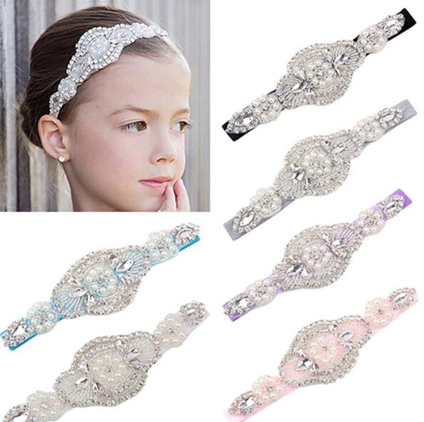 Baby Girl Toddler Infant Headband Faux Pearls Rhinestone Hairband Bride Wedding Headwear Fashion Party Accessory handmade vogue big mesh fascinators hats for women party wedding bride show banquet rhinestone headwear hat shooting headdress