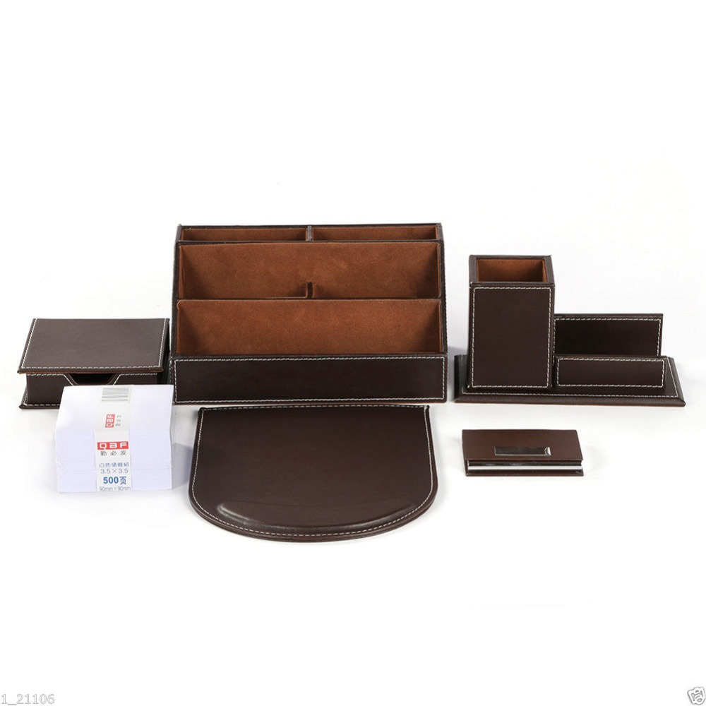Buy ever perfect 6pcs set leather office - Leather desk organizer set ...