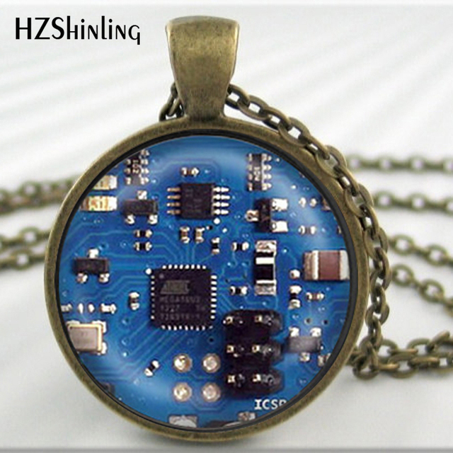 2016 Glass Dome Cabochon Jewelry Blue 2 Circuit Board Art Print Pendant Necklace Charm Gifts for Her or Him Geek Electronics HZ1 3