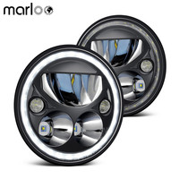 Marloo пара уже 7 Круглый светодио дный фара для Jeep Wrangler JK Белый Halo точка Emarked