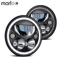Marloo Pair Vortex 7 Round LED Headlight For Jeep Wrangler JK White Halo DOT Emarked