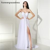 Forevergracedress Elegant Wedding Dress Spaghetti Straps Backless Long Chiffon Lace Beach Boho Bridal Gown Plus Size