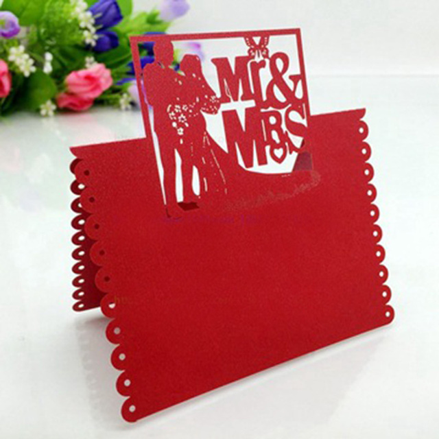 100pcs red fancy wedding invitation card party favor decoration