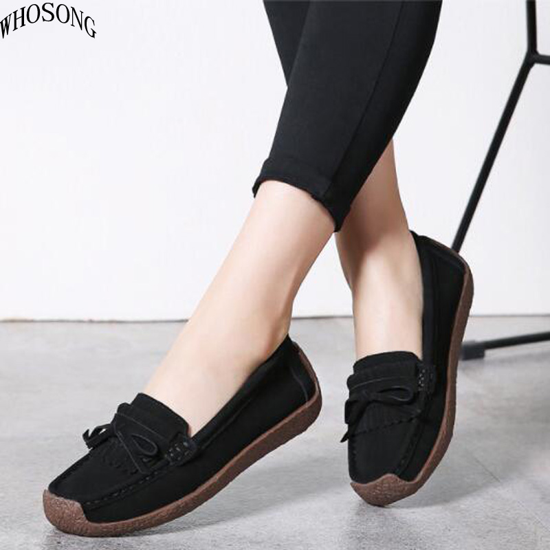 WHOSONG women flats   leather     suede   slip on loafers shoes ladies ballet flats shoes female boat shoe oxford shoes M55