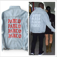 2016 neue Pablo Kanye West Denim Jacken Männer Die Lebensdauer Von Pablo kanye Denim Jeans Übergroße Jeansjacke Mäntel S-XL