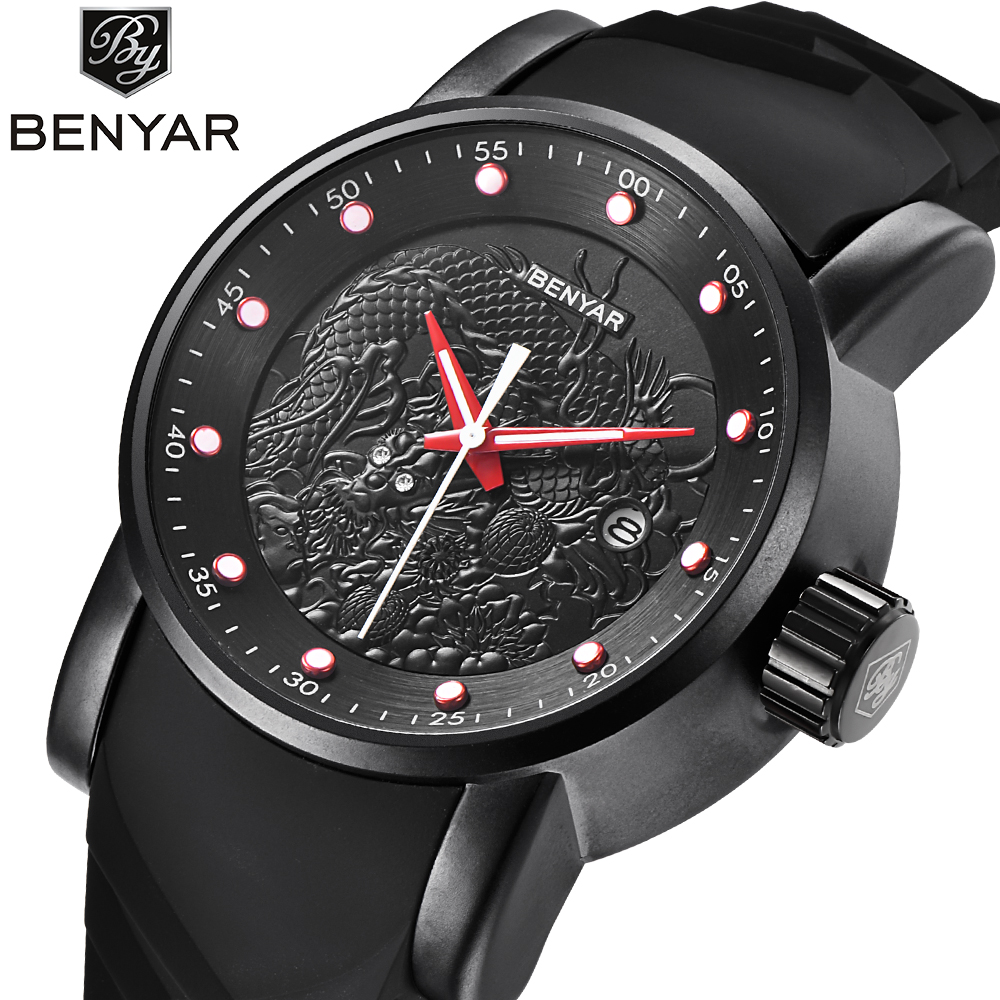 BENYAR New Style 3D rubber Silicone band Men's Watch Gift Waterproof Clock Casual Military Male Sport Black Quartz Wrist Watches men s military style fabric band analog quartz wrist watch black 1 x 377