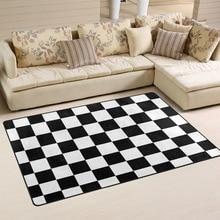 Custom Checkered Non slip Area Rugs Pad Cover Black White Checkered Pattern Floor Mat Modern Carpet for Playroom Living Room
