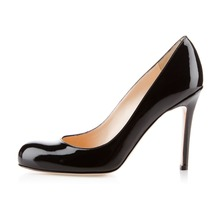 Amourplato Ladies French Style Women Handmade Fashion Simple Office 100mm Pump Round Toe Classmate Party Shoes