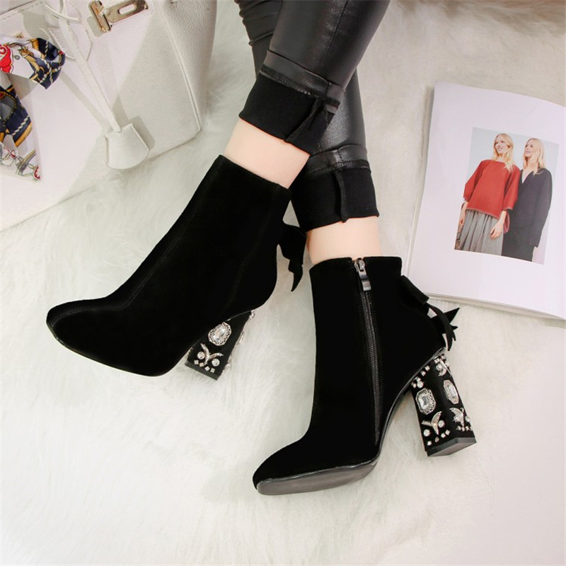 cf06b5a98ce9 OKHOTCN Winter Shoes Cow Suede Square Toe Bowtie Thick Diamond High Heel  Women Ankle Boots Pearl Runway Bow knot Chelsea Boot-in Ankle Boots from  Shoes on ...