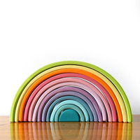Let's do it the Rainbow blocks Wooden Rainbow Nesting Puzzle Building Blocks Toys 2 4 6years wood toy Baby Toys