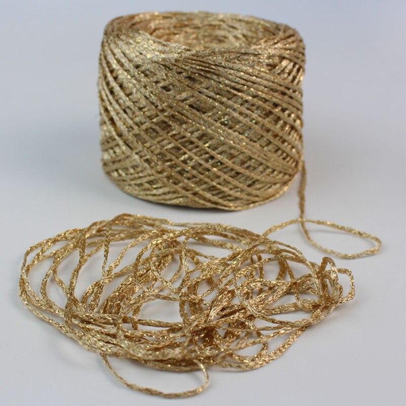 Quality New 250g Colorful Unique Gold Silver Silk Cotton Metallic Yarn Skein Crochet Yarn For Knitting Knit Thread,X3055
